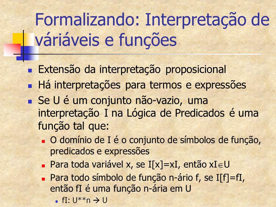 Formalizando: Interpretação de váriáveis e funções
