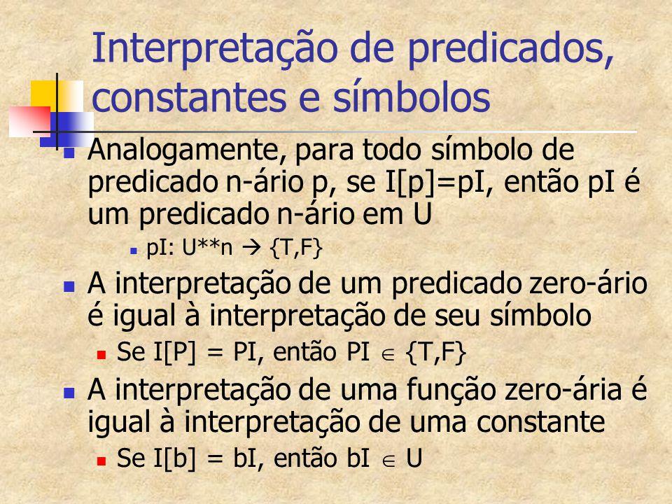 Interpretação de predicados, constantes e símbolos