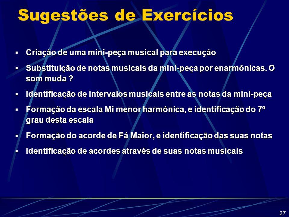 Sugestões de Exercícios