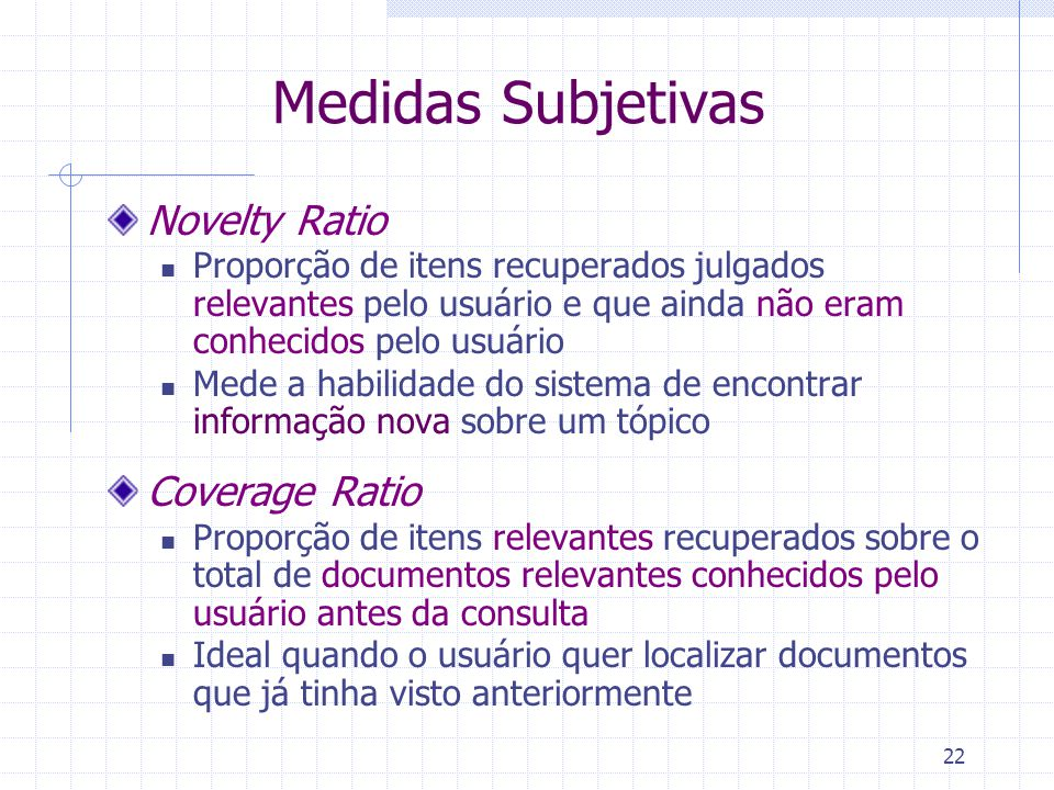 Medidas Subjetivas Novelty Ratio Coverage Ratio