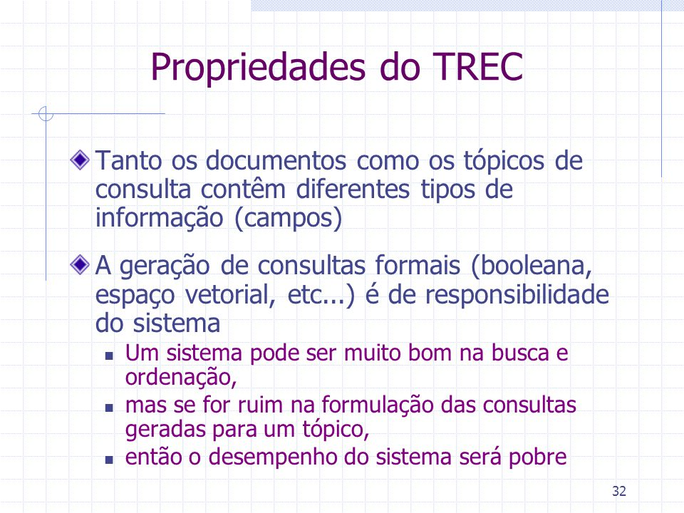 Propriedades do TREC Tanto os documentos como os tópicos de consulta contêm diferentes tipos de informação (campos)