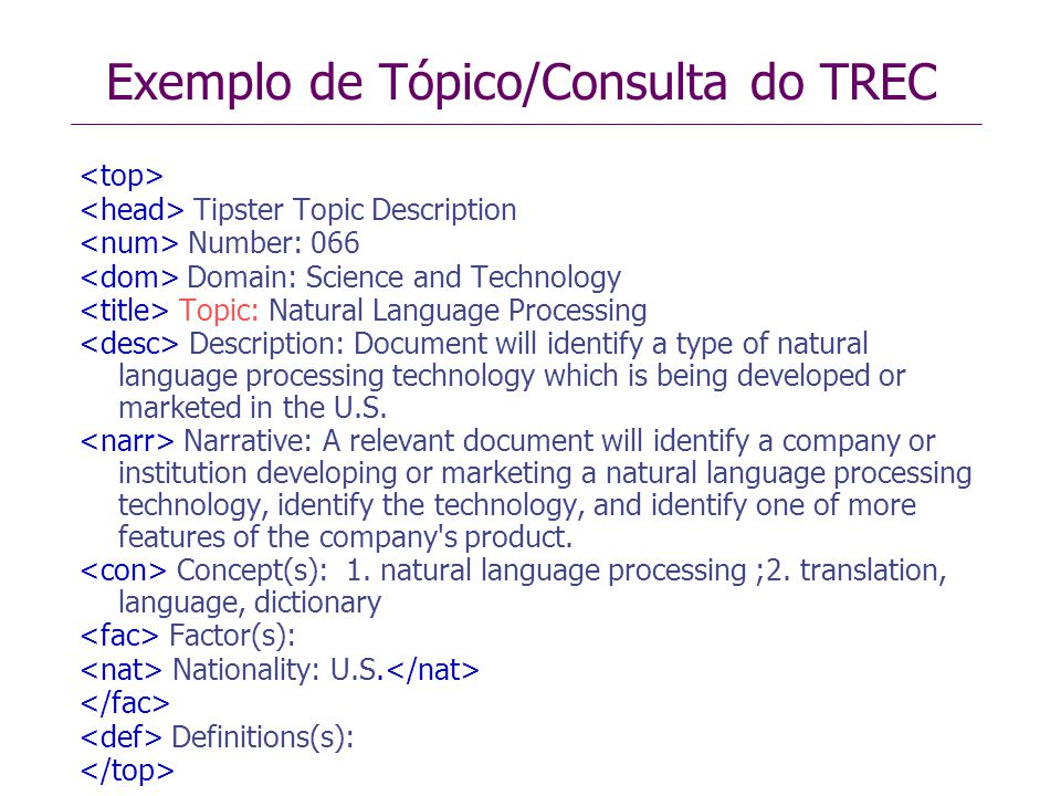 Exemplo de Tópico/Consulta do TREC