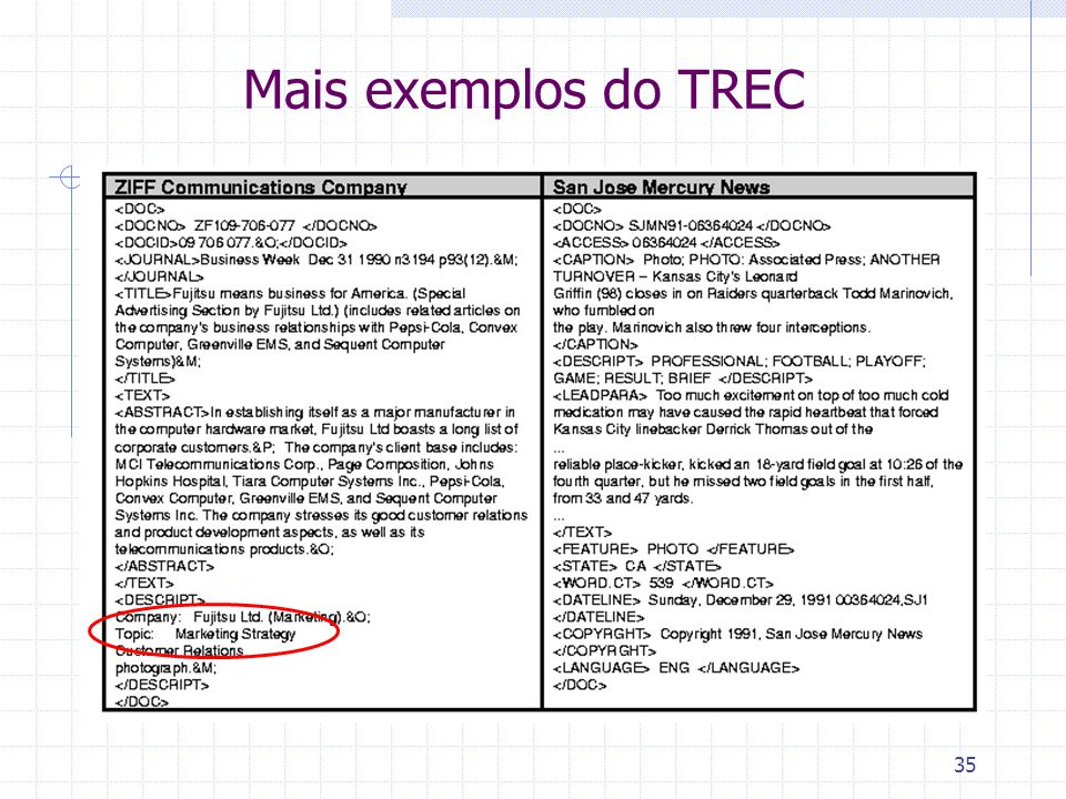 Mais exemplos do TREC