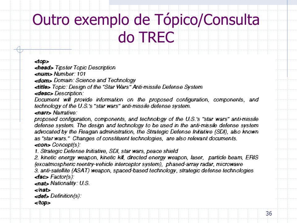 Outro exemplo de Tópico/Consulta do TREC