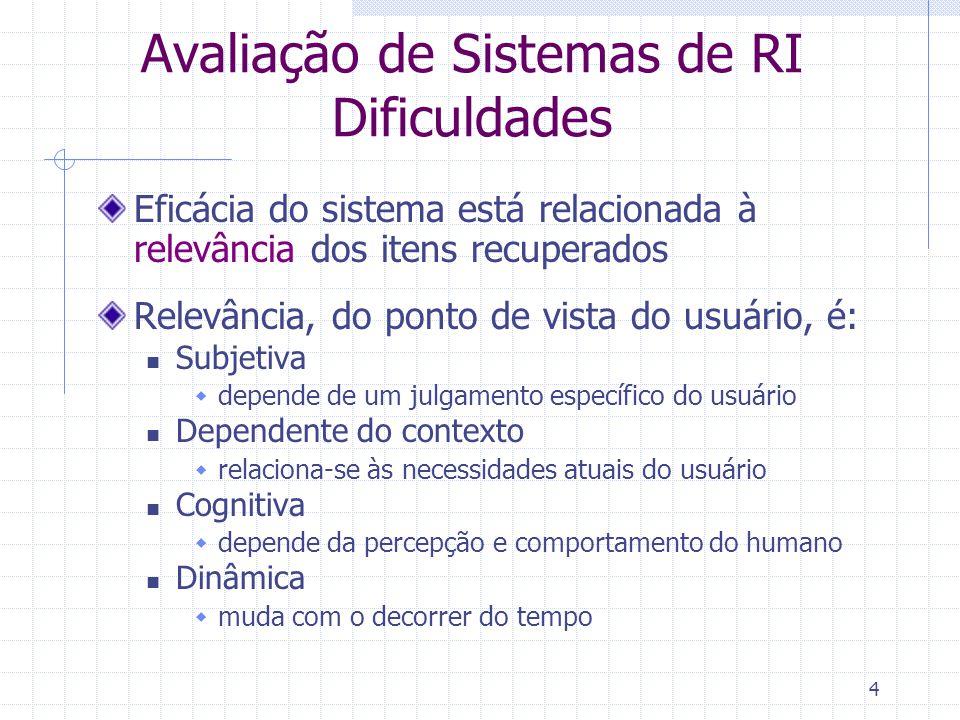 Avaliação de Sistemas de RI Dificuldades