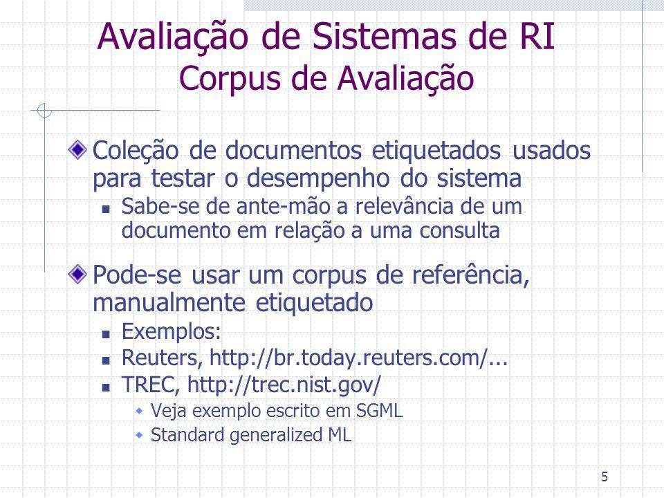 Avaliação de Sistemas de RI Corpus de Avaliação