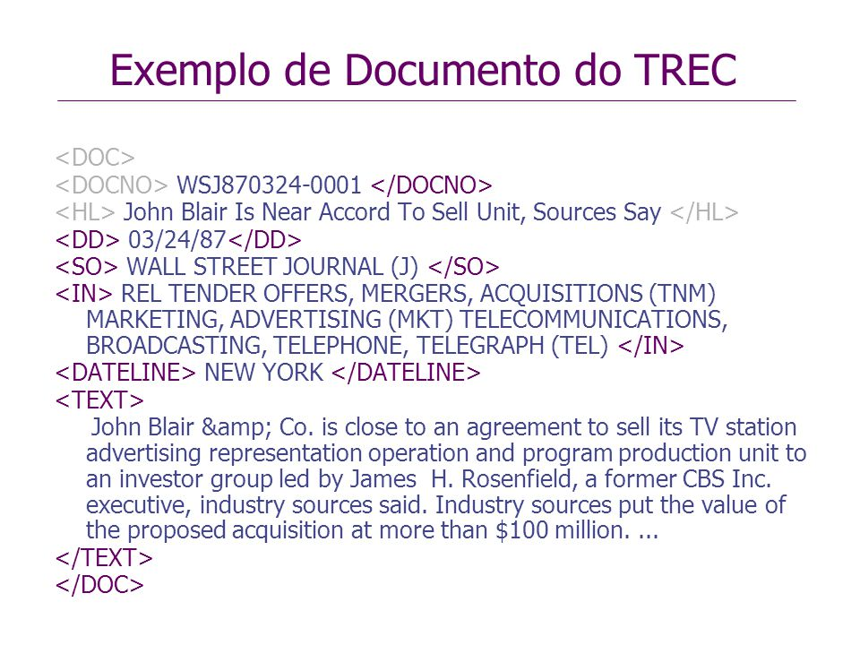 Exemplo de Documento do TREC