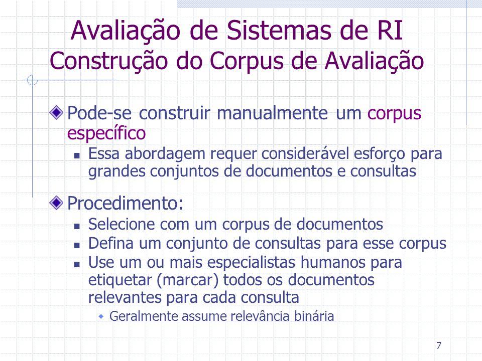 Avaliação de Sistemas de RI Construção do Corpus de Avaliação