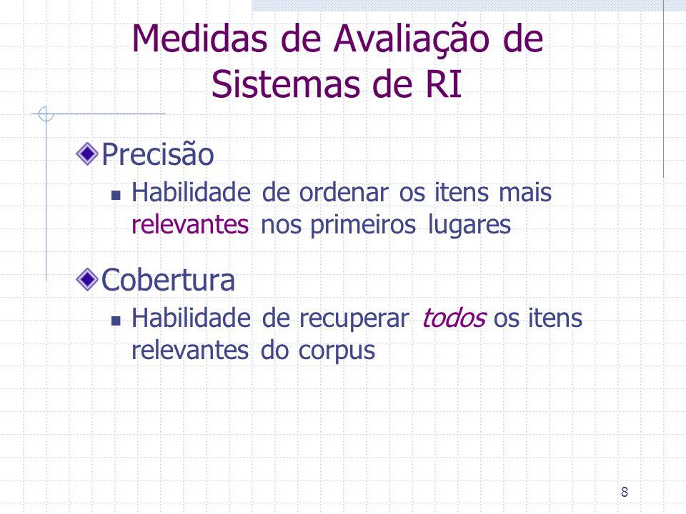 Medidas de Avaliação de Sistemas de RI