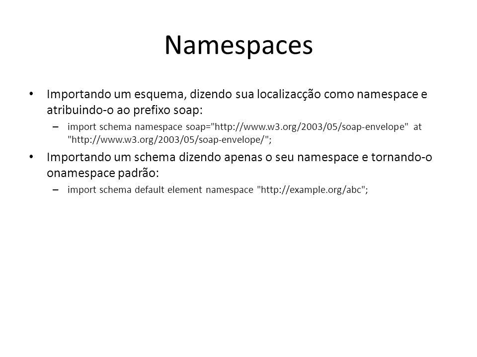 Namespaces Importando um esquema, dizendo sua localizacção como namespace e atribuindo-o ao prefixo soap: