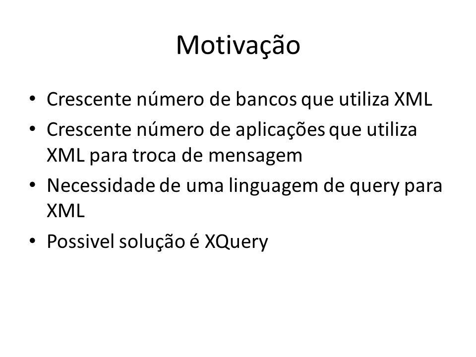 Motivação Crescente número de bancos que utiliza XML