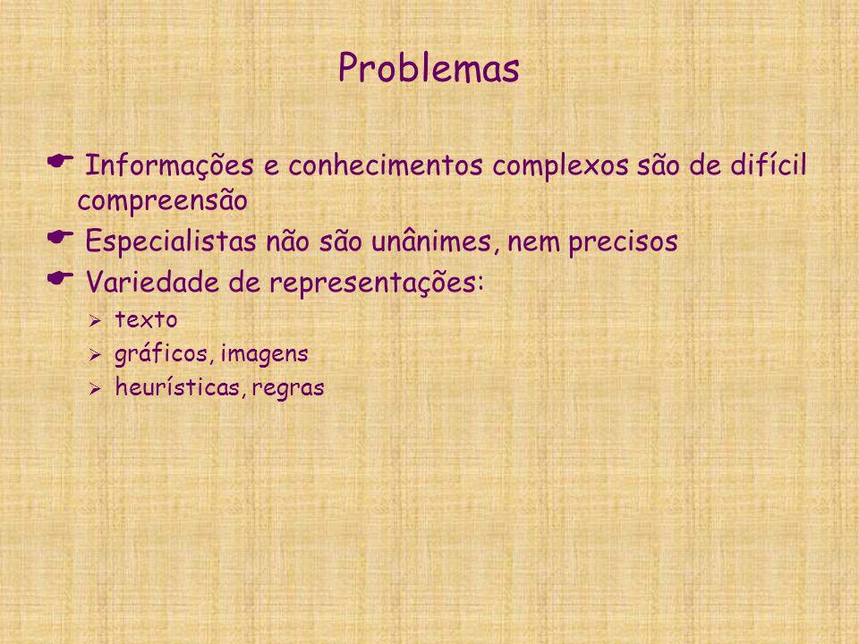 Problemas Informações e conhecimentos complexos são de difícil compreensão. Especialistas não são unânimes, nem precisos.