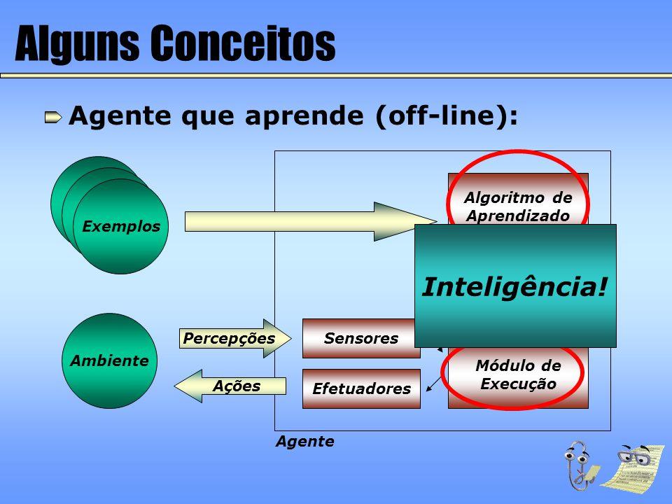 Alguns Conceitos Agente que aprende (off-line): Inteligência!