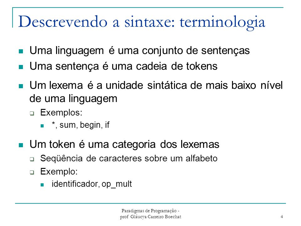 Descrevendo a sintaxe: terminologia