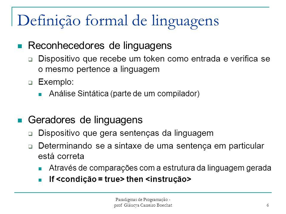 Definição formal de linguagens