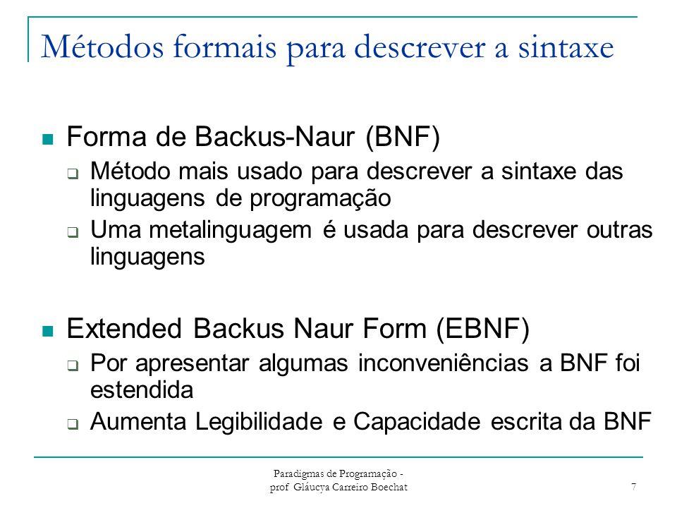 Métodos formais para descrever a sintaxe