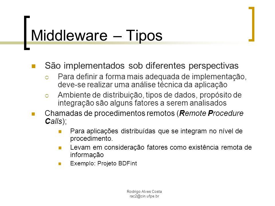 Middleware – Tipos São implementados sob diferentes perspectivas