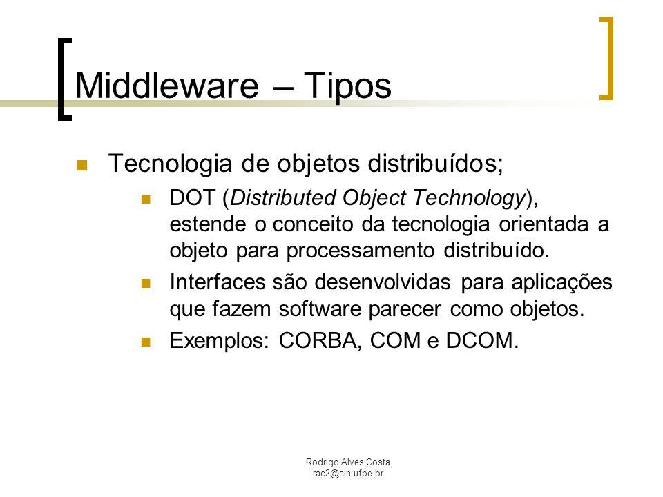 Middleware – Tipos Tecnologia de objetos distribuídos;
