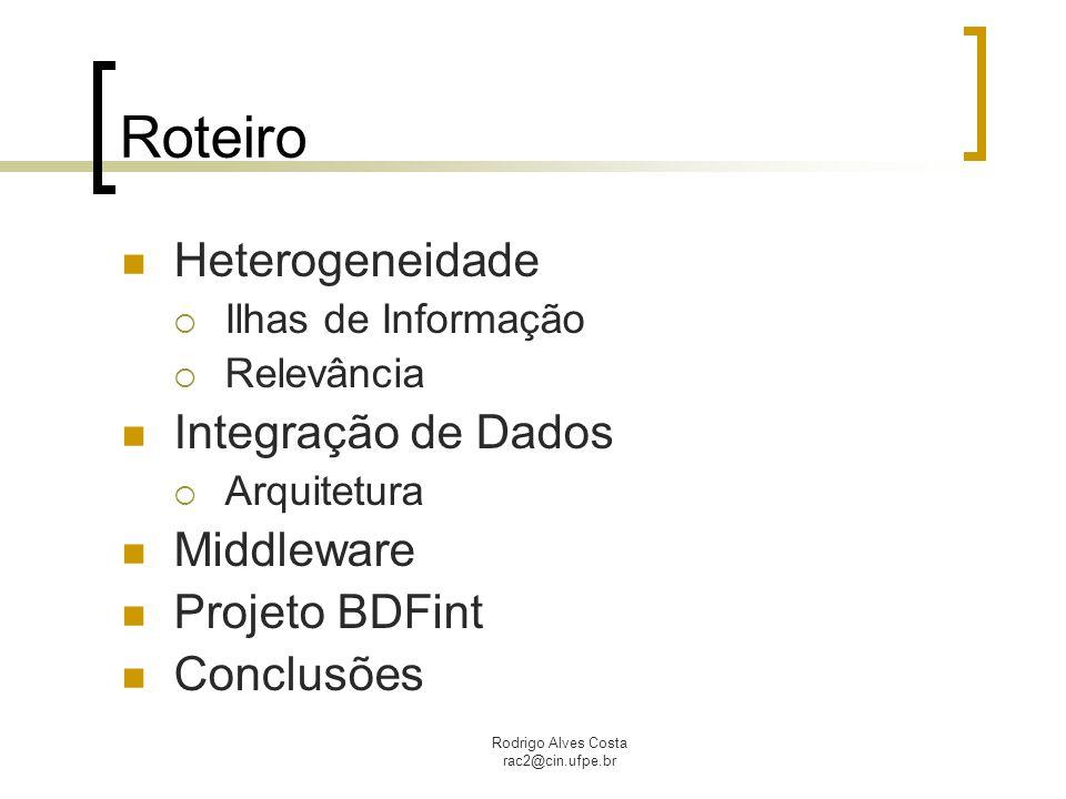Roteiro Heterogeneidade Integração de Dados Middleware Projeto BDFint