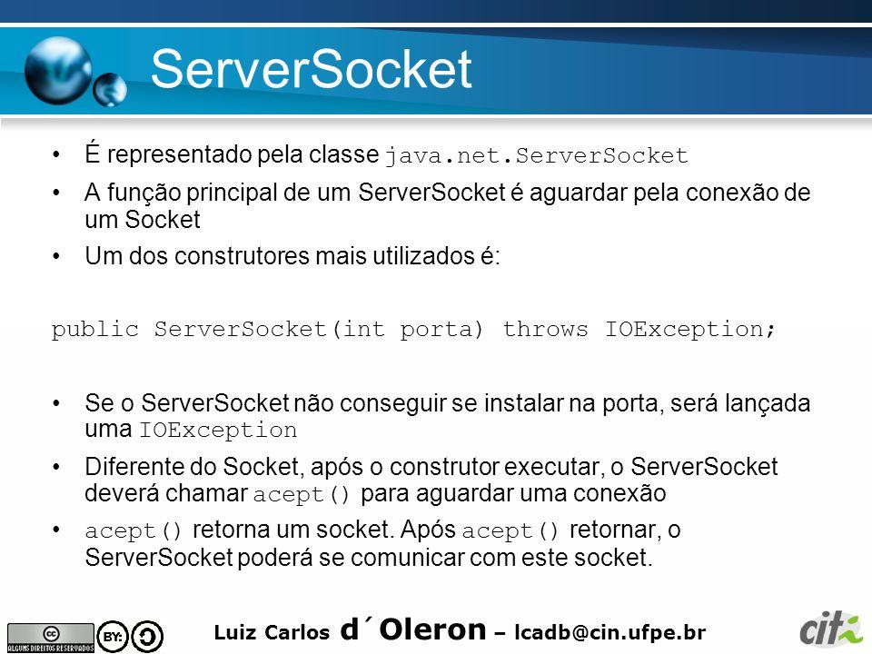ServerSocket É representado pela classe java.net.ServerSocket