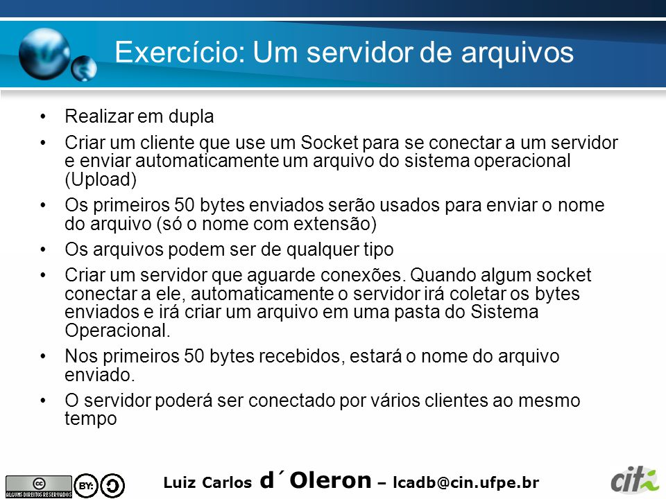 Exercício: Um servidor de arquivos
