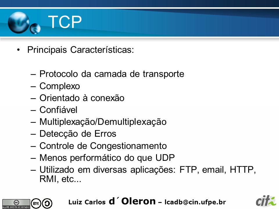 TCP Principais Características: Protocolo da camada de transporte