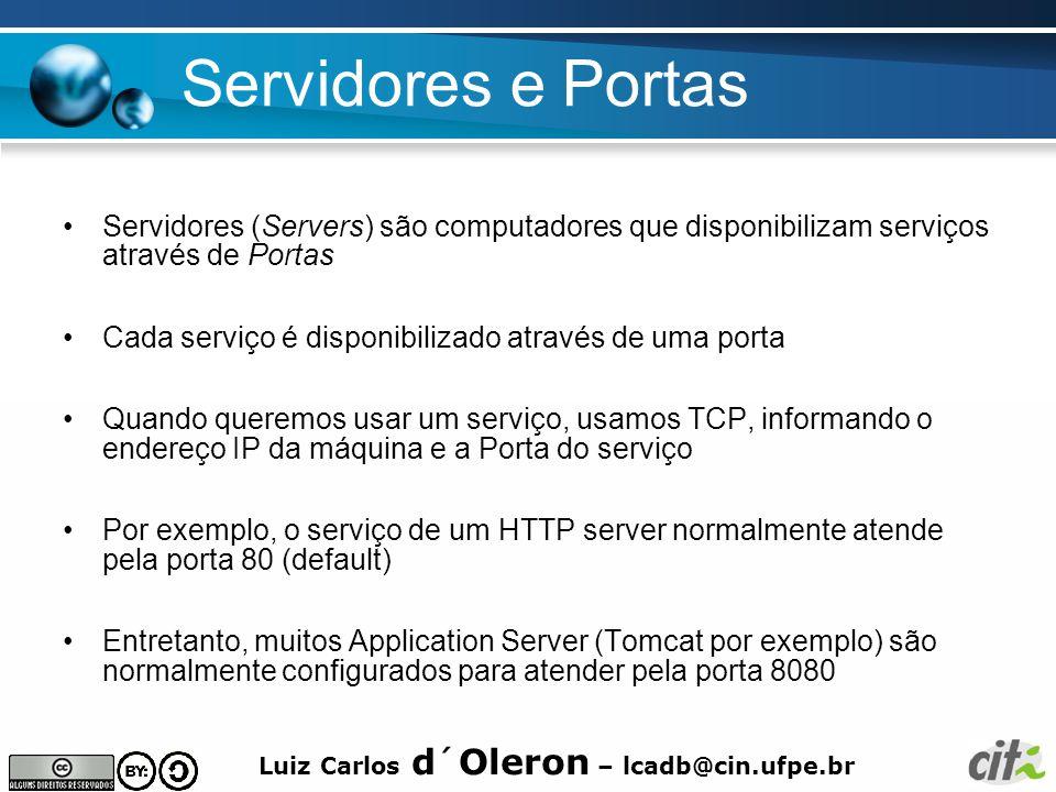 Servidores e Portas Servidores (Servers) são computadores que disponibilizam serviços através de Portas.
