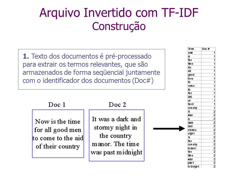 Arquivo Invertido com TF-IDF Construção