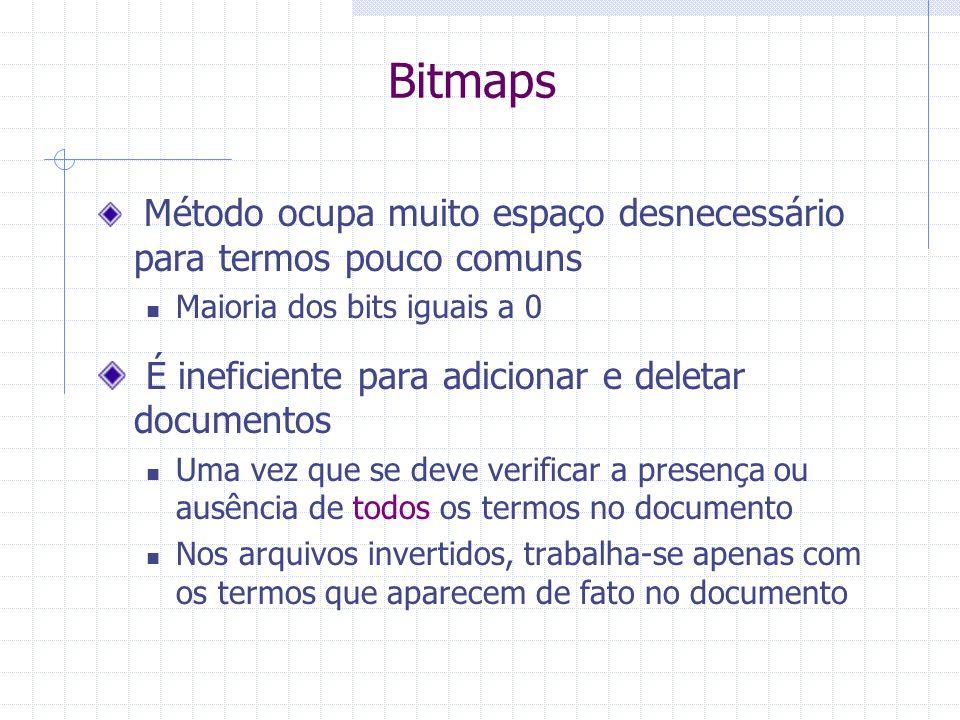 Bitmaps É ineficiente para adicionar e deletar documentos