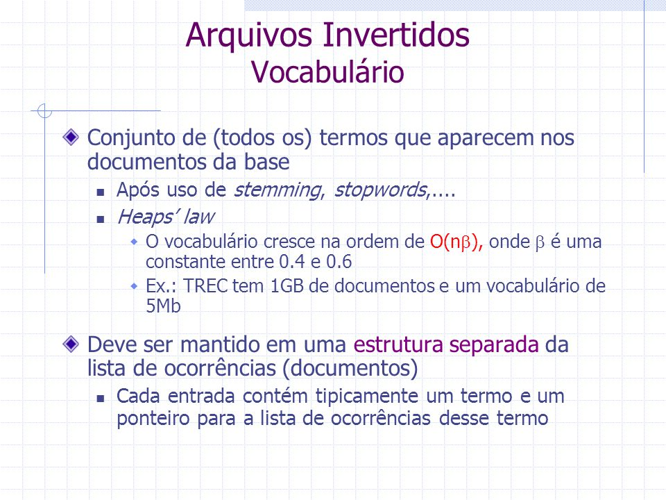 Arquivos Invertidos Vocabulário