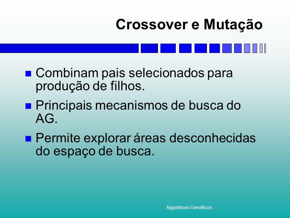 Crossover e Mutação Combinam pais selecionados para produção de filhos. Principais mecanismos de busca do AG.