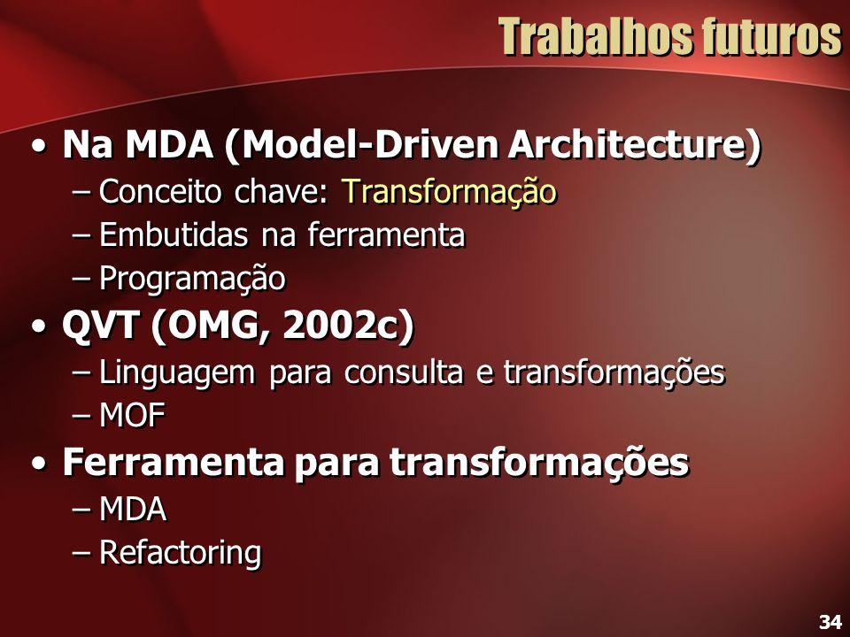 Trabalhos futuros Na MDA (Model-Driven Architecture) QVT (OMG, 2002c)