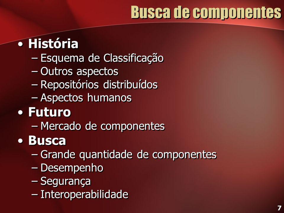 Busca de componentes História Futuro Busca Esquema de Classificação