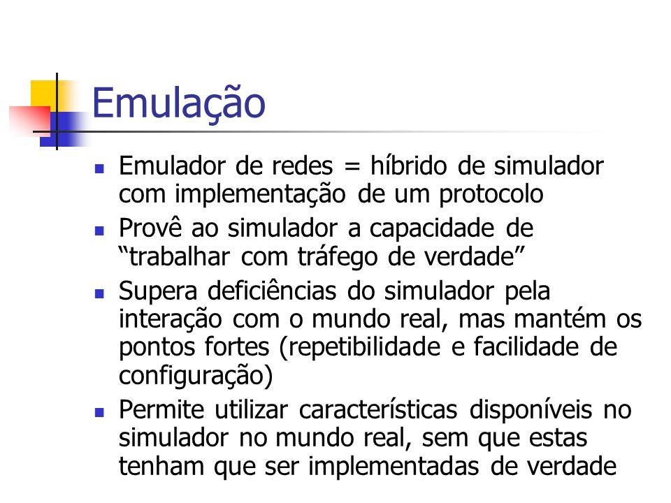 Emulação Emulador de redes = híbrido de simulador com implementação de um protocolo.