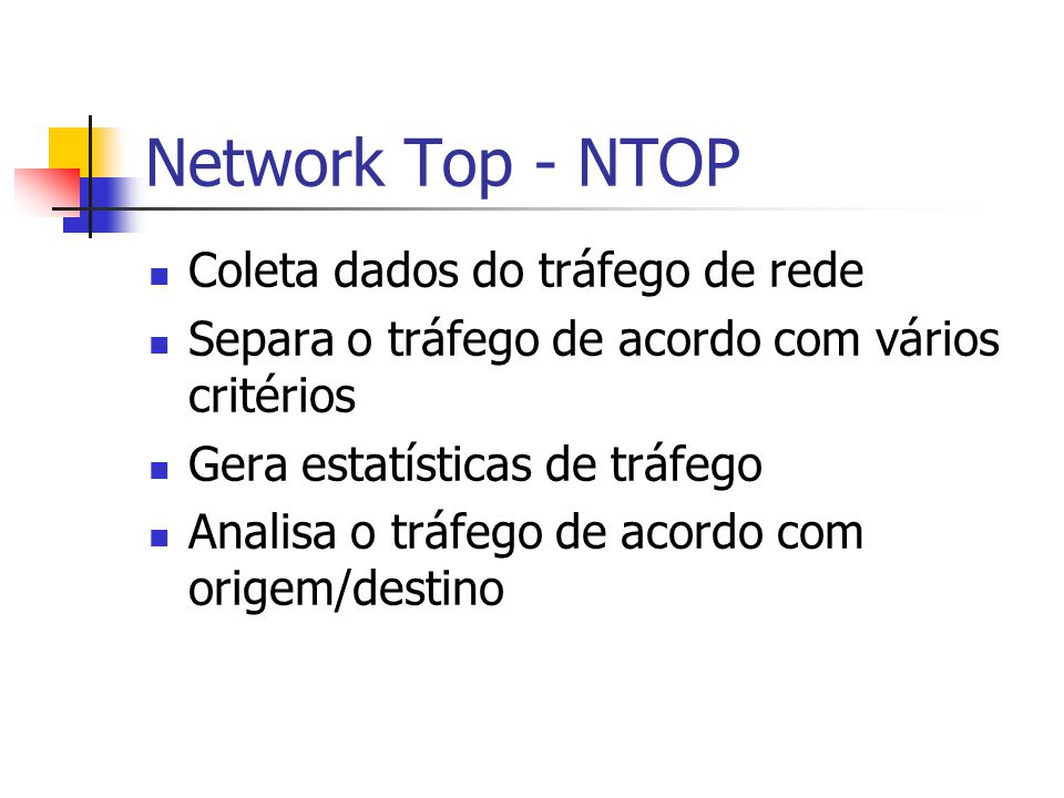 Network Top - NTOP Coleta dados do tráfego de rede