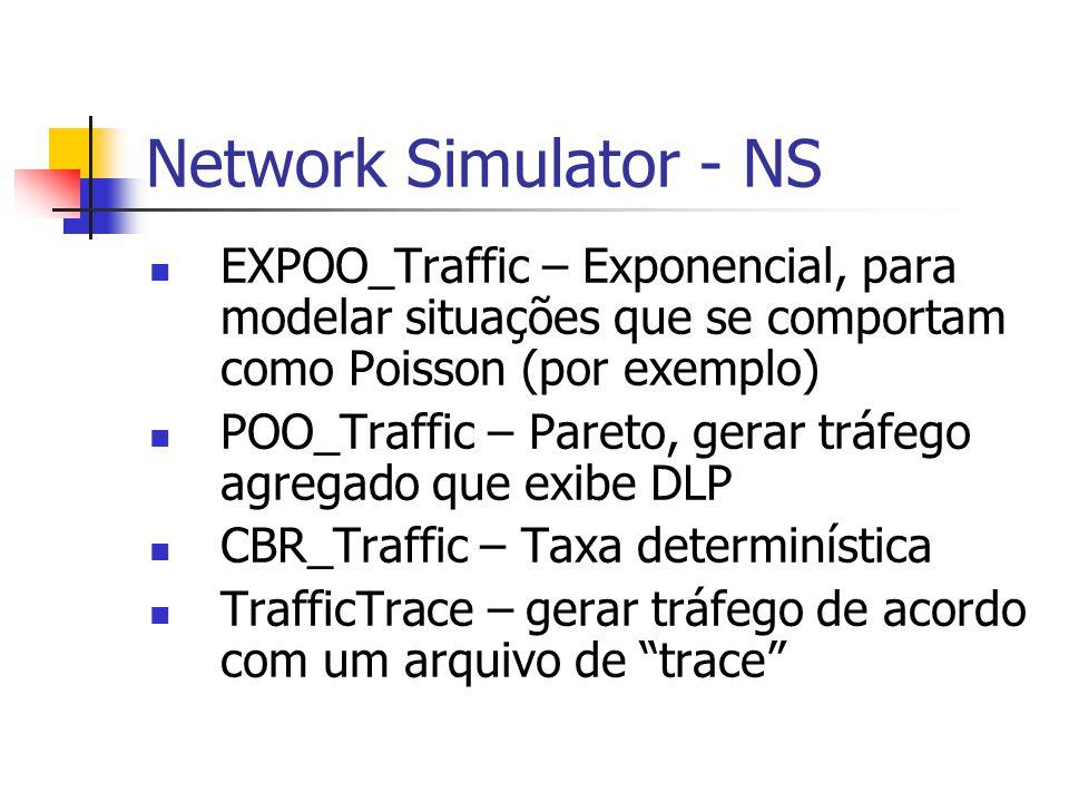 Network Simulator - NS EXPOO_Traffic – Exponencial, para modelar situações que se comportam como Poisson (por exemplo)