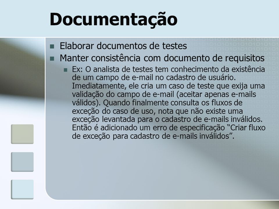 Documentação Elaborar documentos de testes