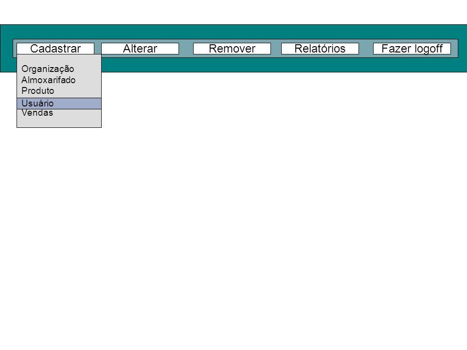 Cadastrar Alterar Remover Relatórios Fazer logoff Organização