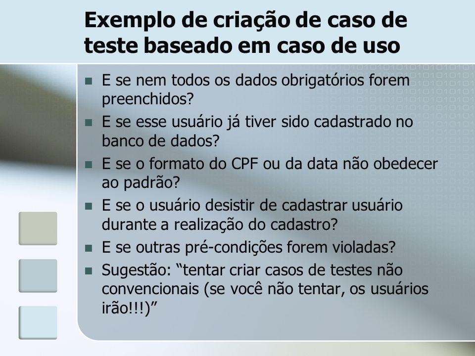 Exemplo de criação de caso de teste baseado em caso de uso