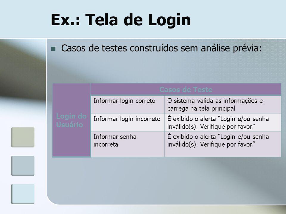 Ex.: Tela de Login Casos de testes construídos sem análise prévia: