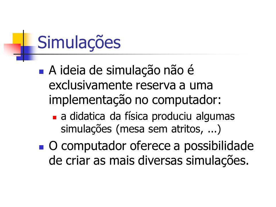 Simulações A ideia de simulação não é exclusivamente reserva a uma implementação no computador: