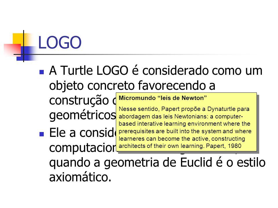 LOGO A Turtle LOGO é considerado como um objeto concreto favorecendo a construção de conhecimentos geométricos.