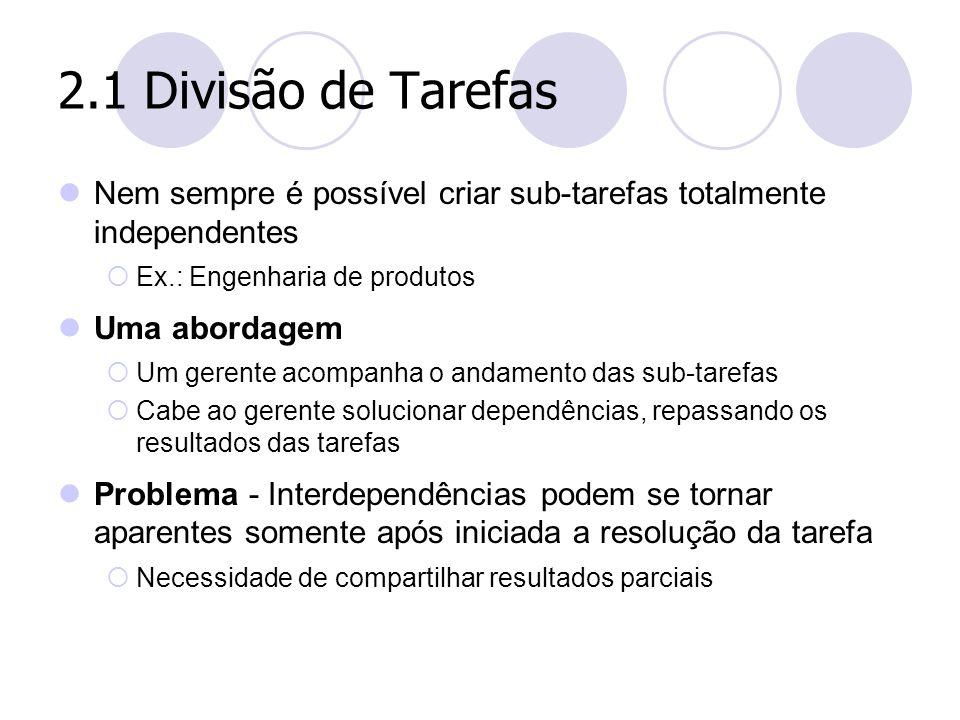 2.1 Divisão de Tarefas Nem sempre é possível criar sub-tarefas totalmente independentes. Ex.: Engenharia de produtos.
