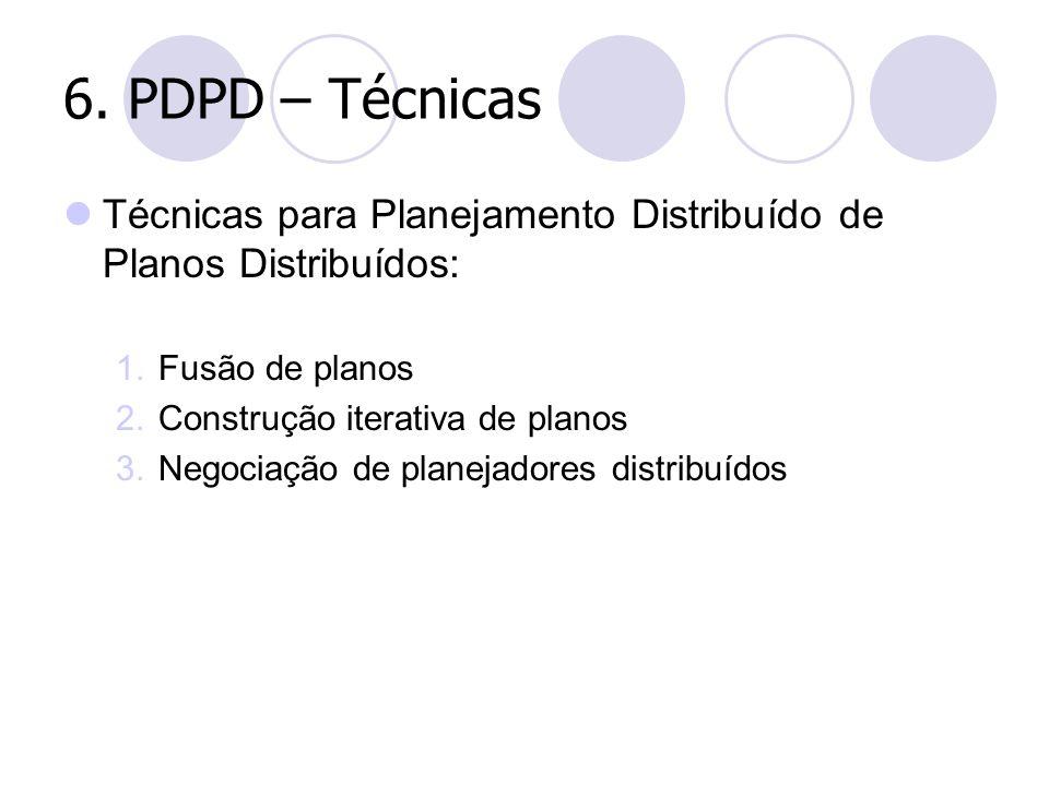 6. PDPD – Técnicas Técnicas para Planejamento Distribuído de Planos Distribuídos: Fusão de planos.