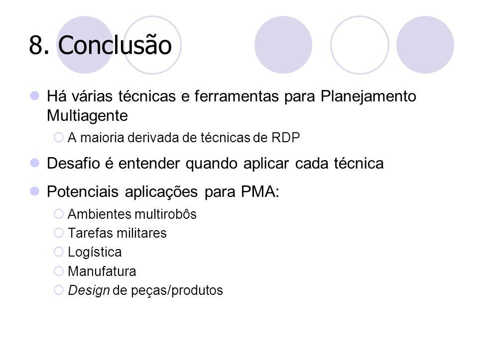 8. Conclusão Há várias técnicas e ferramentas para Planejamento Multiagente. A maioria derivada de técnicas de RDP.