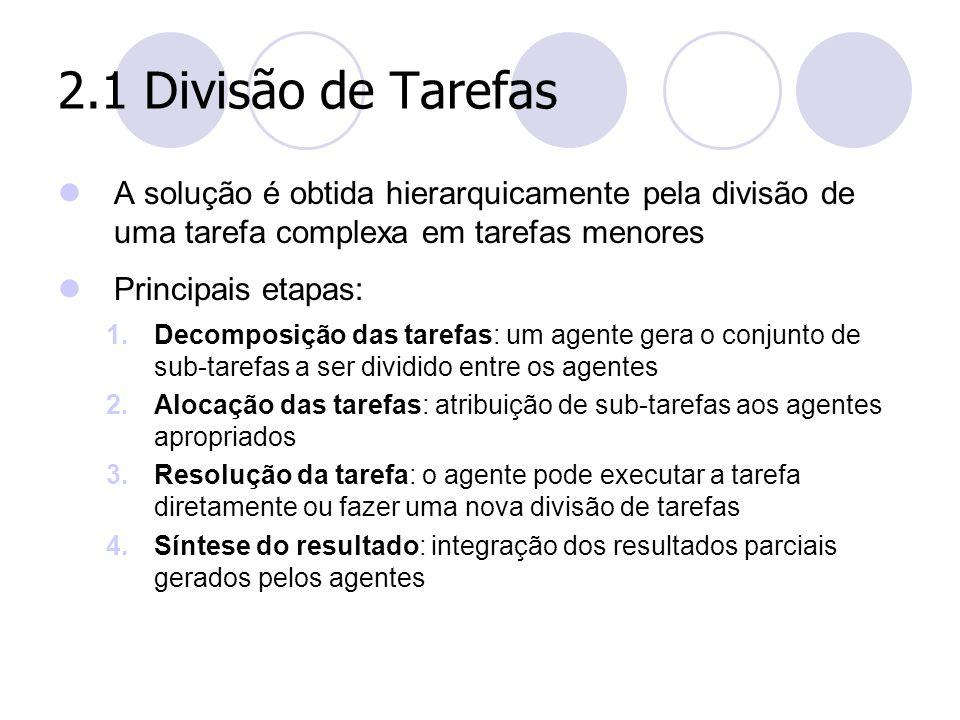 2.1 Divisão de Tarefas A solução é obtida hierarquicamente pela divisão de uma tarefa complexa em tarefas menores.