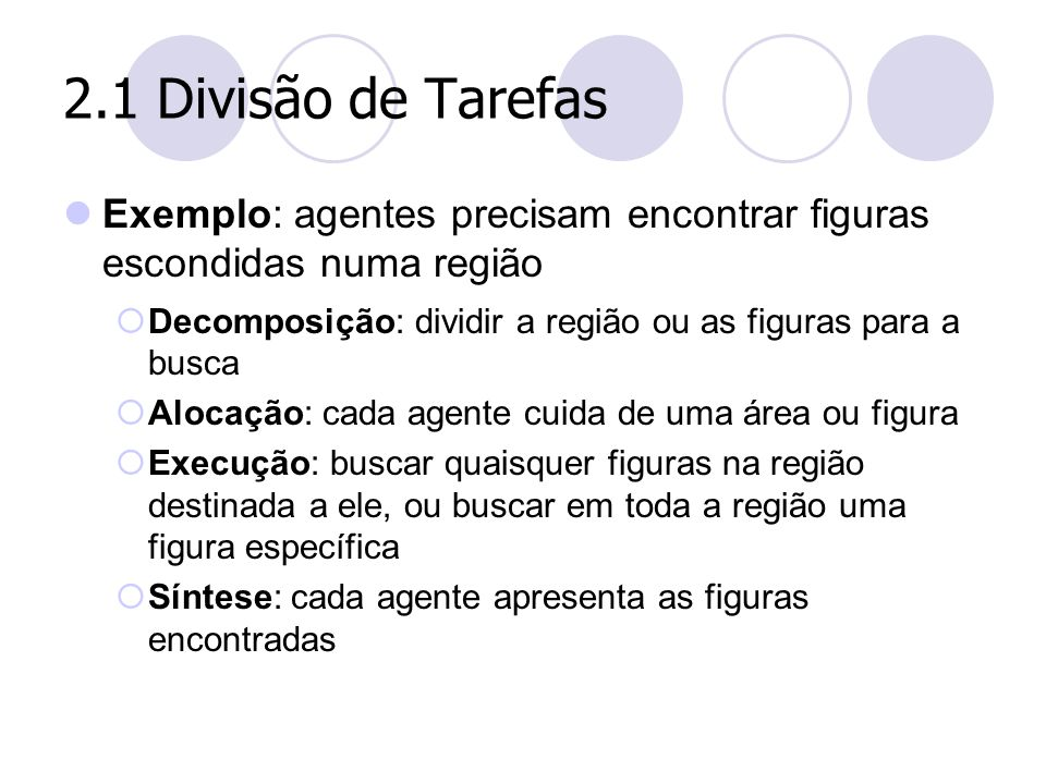 2.1 Divisão de Tarefas Exemplo: agentes precisam encontrar figuras escondidas numa região. Decomposição: dividir a região ou as figuras para a busca.
