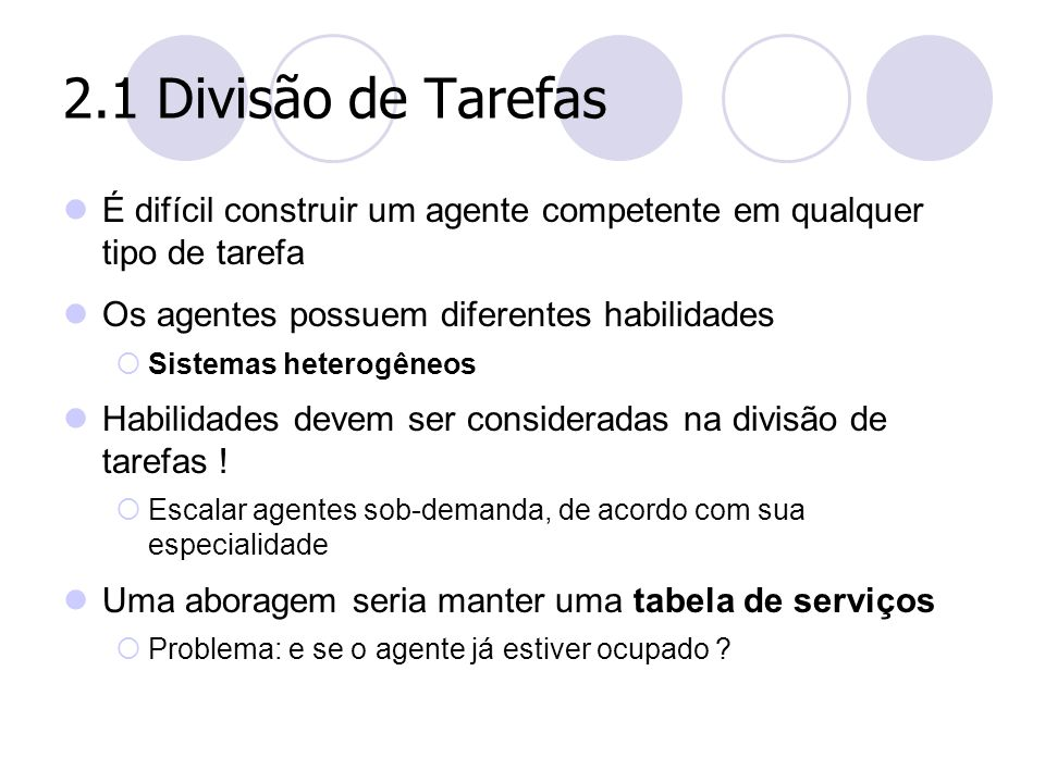2.1 Divisão de Tarefas É difícil construir um agente competente em qualquer tipo de tarefa. Os agentes possuem diferentes habilidades.