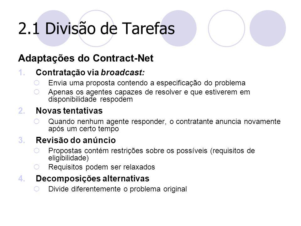 2.1 Divisão de Tarefas Adaptações do Contract-Net