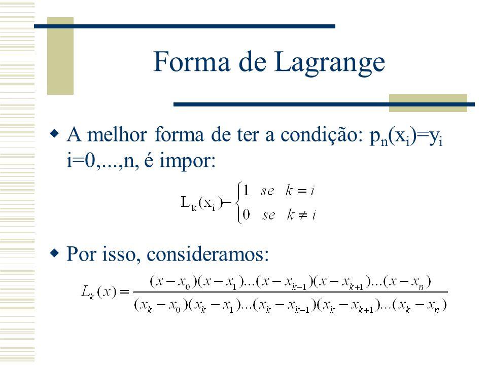 Forma de Lagrange A melhor forma de ter a condição: pn(xi)=yi i=0,...,n, é impor: Por isso, consideramos: